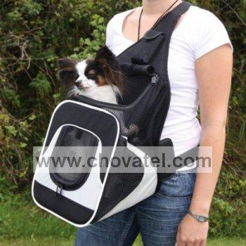 """Nylonový batoh na psa """"klokanka"""" 30x26x33cm černo-šedý"""