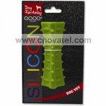 Hračka Dog Fantasy silikon hranol tříboký tmavě zelený 12,5cm