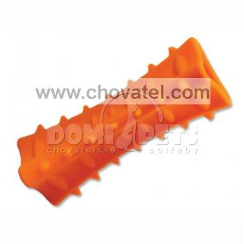 Hračka Dog Fantasy silikon hranol tříboký oranžový 12,5cm