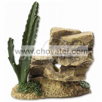 Dekorace Aqua Excellent Skála s kaktusem 12,2cm
